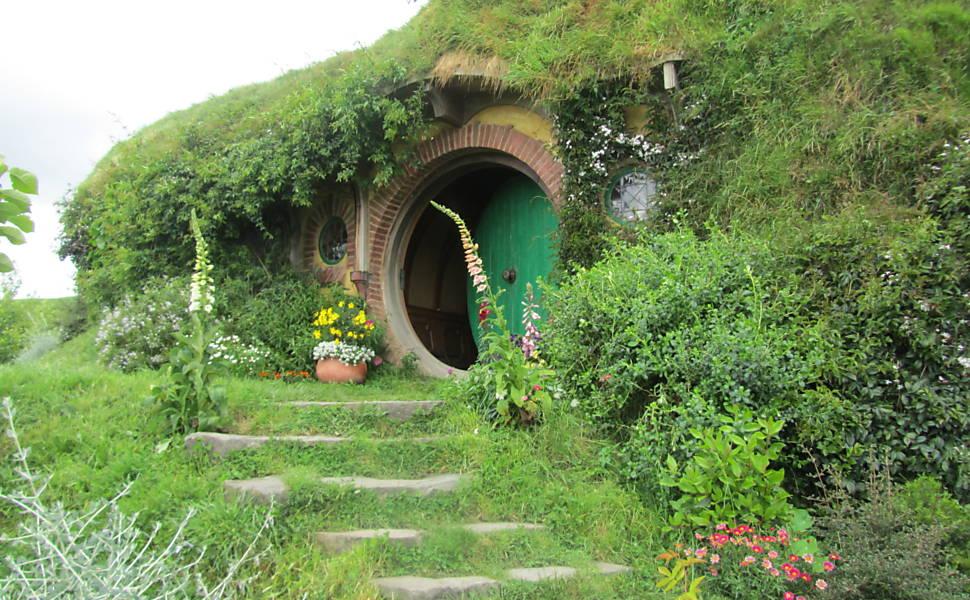 A casa de Bilbo (Bag End) no cenário de Hobbiton, em Matamata. Foto: Vanessa Barbara/Folhapress