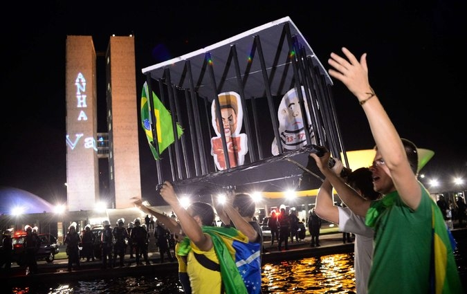 A protest against Brazil's president, Dilma Rousseff, in Brasilia on Monday. Credit: Andressa Anholete/Agence France-Presse — Getty Images